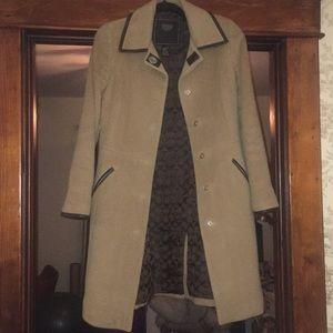 Coach Camel Colored Wool w Leather Trim Dress Coat